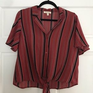 Marshall's Monteau Cropped Blouse with Tie Front